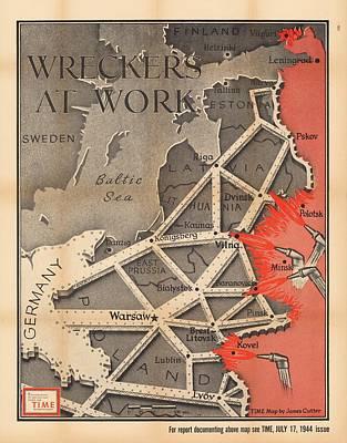 Old World Vintage Cartographic Maps Wall Art - Drawing - Propaganda Map Of German Domination - Baltic Region, Prussia, Poland - World War 2 - Time Magazine by Studio Grafiikka