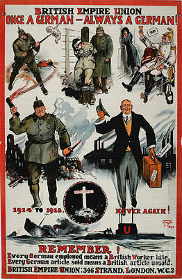 British Propaganda Digital Art - Propaganda Poster Anti German 1914 1918 War by R Muirhead Art