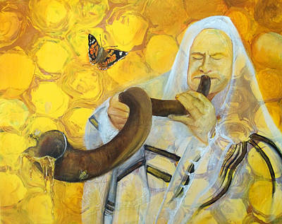 Painting - Prophetic Message Sketch Painting 9 Honey Dripping From The Shofar by Anne Cameron Cutri