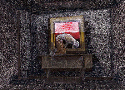 Mixed Media - Prostrated Before A Dumbwaiter by Al Goldfarb