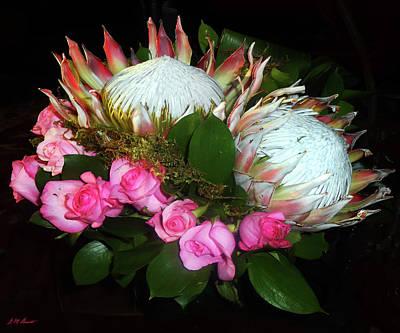 Protea And Roses Art Print