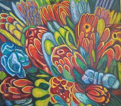 Painting - Proteas At Noon 2015 by Enrique Ojembarrena