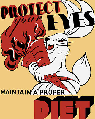 Works Progress Administration Painting - Protect Your Eyes - Maintain A Proper Diet by War Is Hell Store