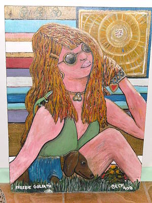 Farrah Fawcett Painting - Protection Of Freebie by Becky Jenney