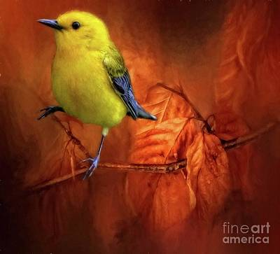 Digital Art - Prothonotary Warbler by Suzanne Handel