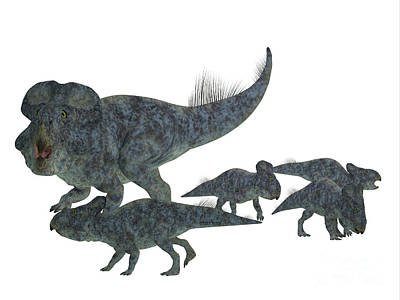 Protoceratops Mother With Offspring Art Print by Corey Ford