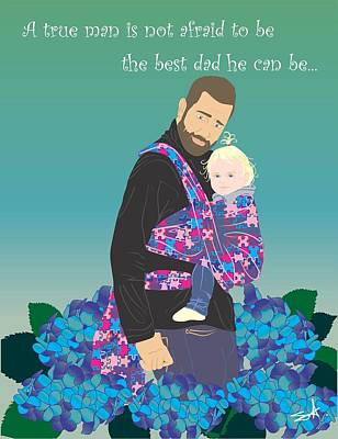Sling Drawing - Proud Babywearing Daddy by Parenthood Art Designs