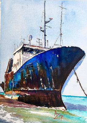 Aground Painting - Proud Mary by Anthony Zecca