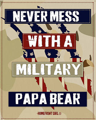 Digital Art - Proud Military Papa Bear by Gaby Juergens