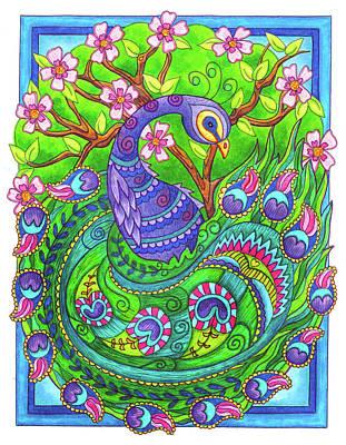 Drawing - Proud Peacock by Jennifer Allison