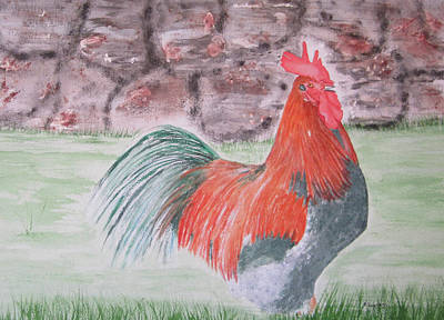 Painting - Colourful Rooster by Elvira Ingram