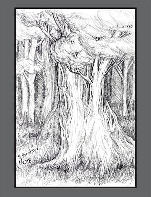 Drawing - Proud Tree In Forest by Ruth Renshaw