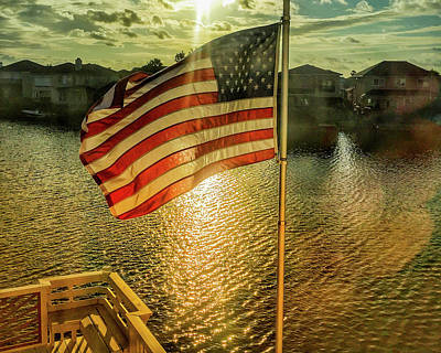 Photograph - Proudly Flying The American Flag Nov 11 by Debra Martz
