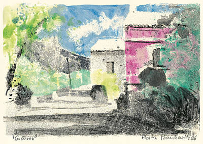 Art Print featuring the painting Provence Landscape Village Cucuron by Martin Stankewitz