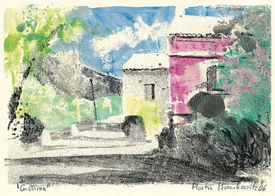 Painting - Provence Landscape Village Cucuron by Martin Stankewitz