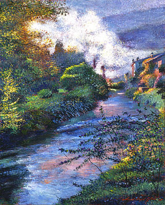 Acrylic Landscape Painting - Provence River by David Lloyd Glover