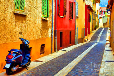 Rendition Photograph - Provence Street With Scooter by Olivier Le Queinec