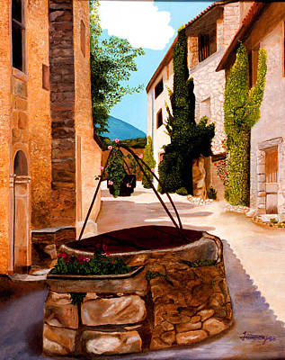 Painting - Provence Village Well by JoeRay Kelley