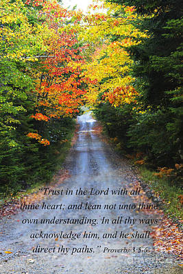 Proverbs Along A Fall Road Art Print by Katie W