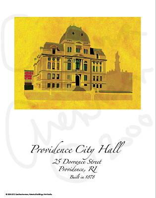 City Hall Digital Art - Providence City Hall by Carolina Arentsen