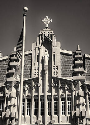 Photograph - Providence College Harkins Detail Monochrome by Nancy De Flon