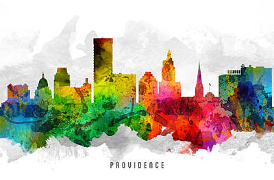 Providence Rhode Island Cityscape 12 Art Print by Aged Pixel