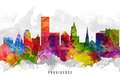 Providence Rhode Island Cityscape 13 Art Print by Aged Pixel