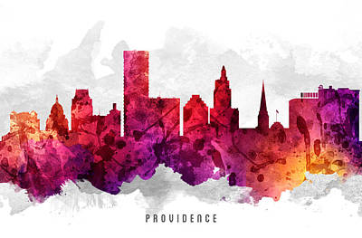Providence Rhode Island Cityscape 14 Art Print by Aged Pixel