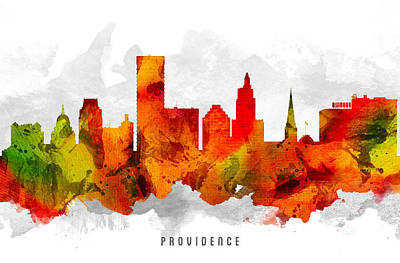 Providence Rhode Island Cityscape 15 Art Print by Aged Pixel