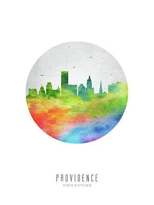 Rhode Island Digital Art - Providence Skyline Usripr20 by Aged Pixel
