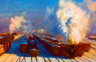 Digital Art - Proviso Classification Yard 1942 by Chuck Mountain