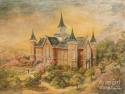 Church Of Jesus Christ Of Latter-day Saints Painting - Provo City Center Temple by Claire Lambson