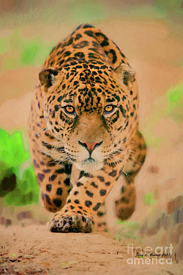 Mixed Media - Prowling Leopard by Jerry L Barrett