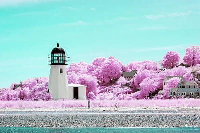 Photograph - Prudence Island Light Infrared by Brian Hale