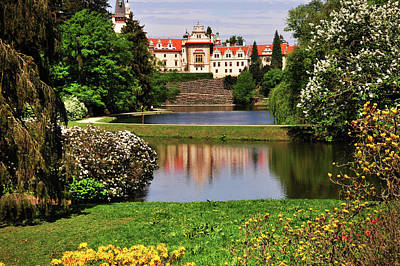 Photograph - Pruhonice Castle  Reflecting In Lake. Spring  Time by Jenny Rainbow