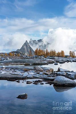 Photograph - Prusik Peak Larches Cloudscape by Mike Reid