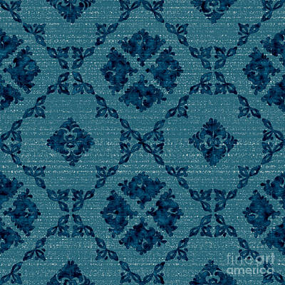 Slavic Digital Art - Prussian Blue Slavic Style Foliage by Nataliya Korovkina