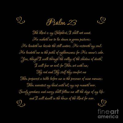 Digital Art - Psalm 23 The Lord Is My Shepherd Gold Script On Black by Rose Santuci-Sofranko