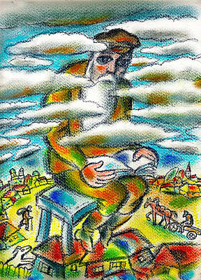 Rabbi Painting - Psalms, The Ladder Of Jacob by Leon Zernitsky