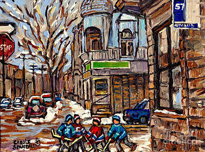 Art Of Hockey Painting - Psc Winter Street 57 Bus Stop Hockey Fun Connie's Pizza Original Canadian Painting Carole Spandau by Carole Spandau