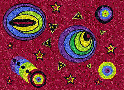 Digital Art - Pschedelic Universe Mosaic by Shelli Fitzpatrick