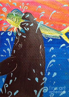 Painting - Pseudorca Crassidens Catching A Mahimahi by Jennifer Bright