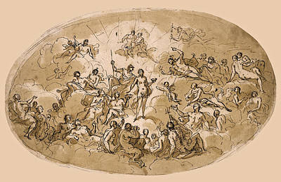 Psyche Amongst The Olympian Gods. A Ceiling Design For Stoke Edith House Herfordshire Art Print by James Thornhill