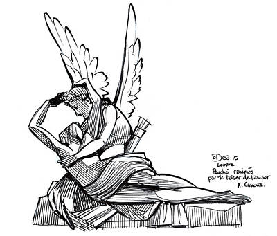 Reviving Drawing - Psyche Revived By Cupid's Kiss by Patrick Dea