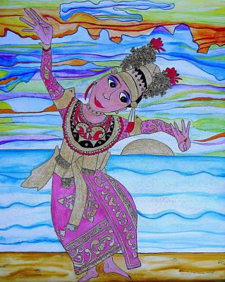 Painting - Psychedelic Balinese Dancer by Erika Swartzkopf