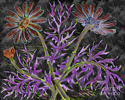 Digital Art - Psychedelic Blooming Flowers  by Scott Hervieux