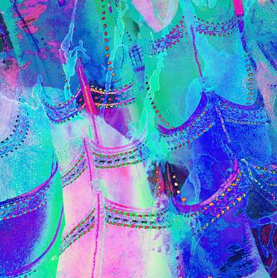 Psychedelic Blue Shoes Shopping Is Fun Abstract Square 4f Art Print