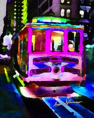 Psychedelic Cable Car Art Print by Anthony Caruso