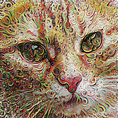 Digital Art - Psychedelic Cat by Peggy Collins