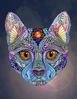 Gel Pen Painting - Psychedelic Cat With Mystic Background by Linda McMillen